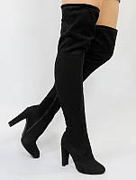 Черные женские ботфорты на высоком устойчивом каблуке Arbuga