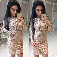 Леопардовое платье с пайетками в расцветках y-41032144