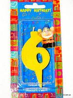 """Свеча детская на торт """"Гномики"""" цифра """"6"""" жёлтая"""