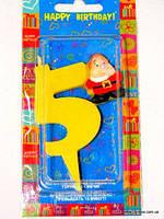 """Свеча детская на торт """"Гномики"""" цифра """"5"""" жёлтая"""