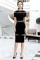 Стильное женское черное платье Размарин Jadone Fashion 42-50 размеры