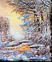 Набор для вышивания бисером на художественном холсте Хрустальная зима