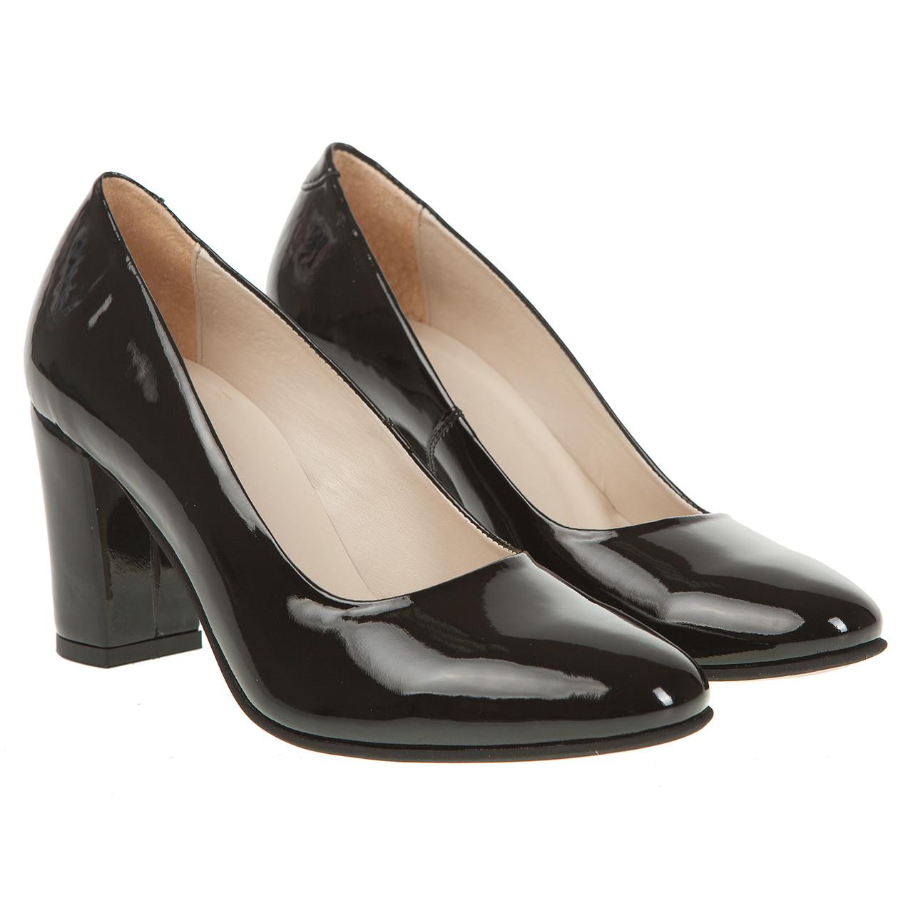 Туфли женские Capriccio (черные, на устойчивом каблуке, удобные, классические)