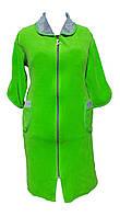 Велюровый женский халат на молнии 60р