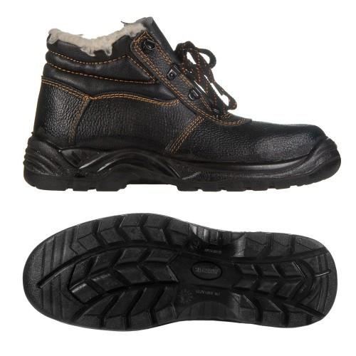 Ботинки юфть/кирза СМ рабочие утепленные (Мех)  ПУ (литая) подошва черные
