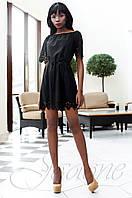 Модное черное платье-туника Кения Jadone Fashion 42-50 размеры