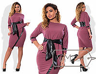 Женское платье с поясом Батал у-2025988
