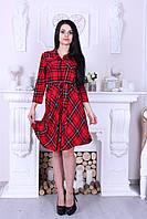 Красное женское платье в клетку