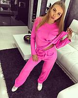 Женский розовый вязаный спортивный костюм b-615280