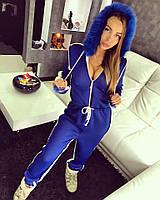 Теплый женский синий комбинезон с мехом n-615281