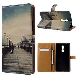 Чехол книжка для Lenovo K6 Note K53a48 боковой с отсеком для визиток, Мост