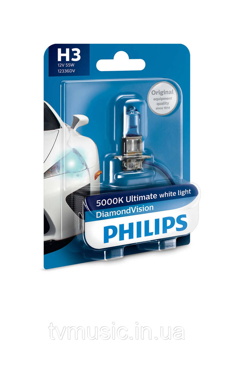 Галогенная лампа Philips Diamond Vision H3 12V 55W (12336DVB1)