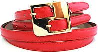 Яркий женский двойной кожаный ремень ШхД 1,5Х120 см. MYKHAIL IKHTYAR (МИХАИЛ ИХТЯР) 2070 малиновый