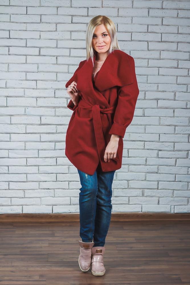 Пальто женское короткое кашемировое бордо