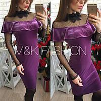 Нарядное платье с воланом и сеткой -032434