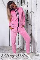 Удобный розовый велюровый костюм