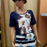 Летняя женская блузка  черная с цветочным принтом
