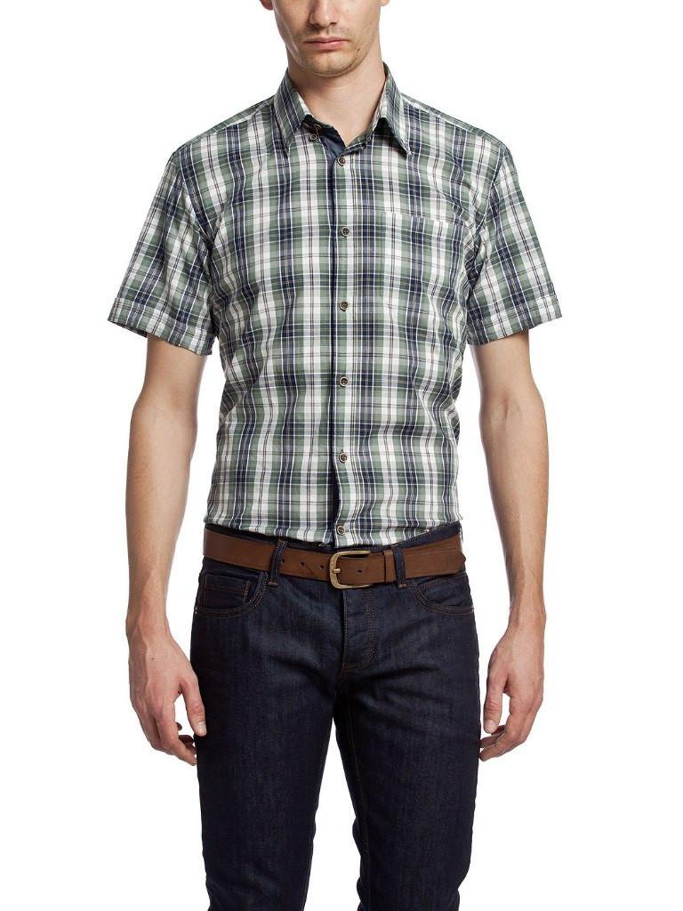Мужская рубашка LC Waikiki с коротким рукавом белого цвета в сине-зеленые полоски