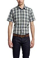 Мужская рубашка LC Waikiki с коротким рукавом белого цвета в сине-зеленые полоски, фото 1