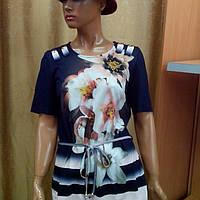 Летняя женская блузка черная с полоской и цветами