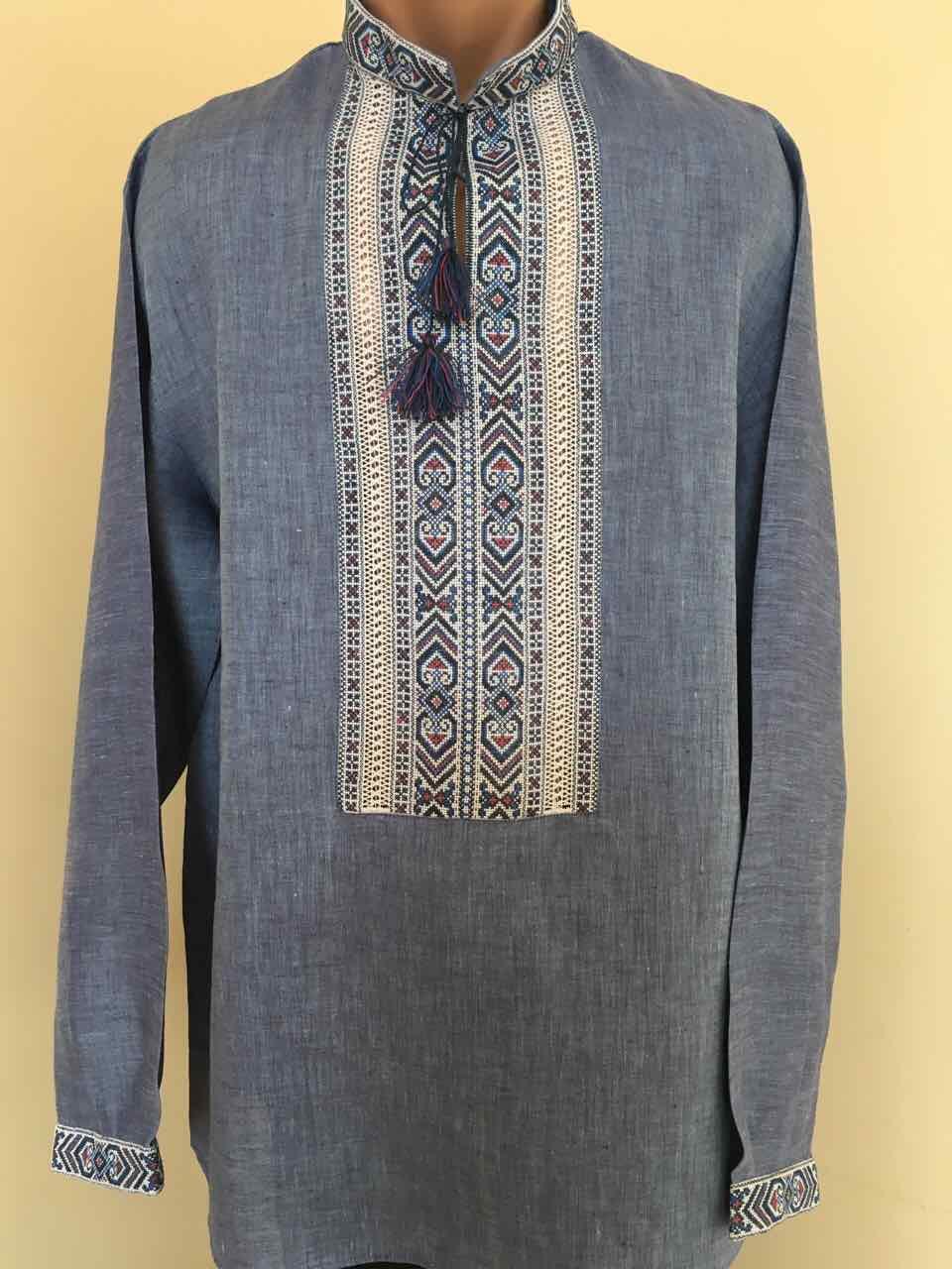 Вишиванка на синьому льоні чоловіча ручної роботи  продажа a01f7736b3d3a