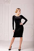Женское велюровое платье-чехол черного цвета