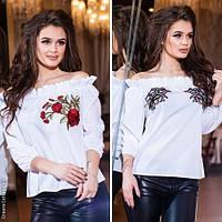 Стильная женская блузка с вышивкой / Украина / коттон