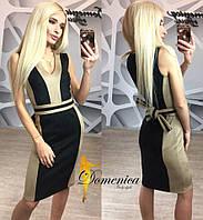 Замшевое платье с поясом у-6132515