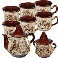 Набор чайный 8 предметов Чайник 1.25 л, сахарница 540 мл,6 чашек 300 мл Пекин ST 50102