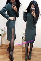 Длинное теплое платье с воротником (много цветов) j-2032557