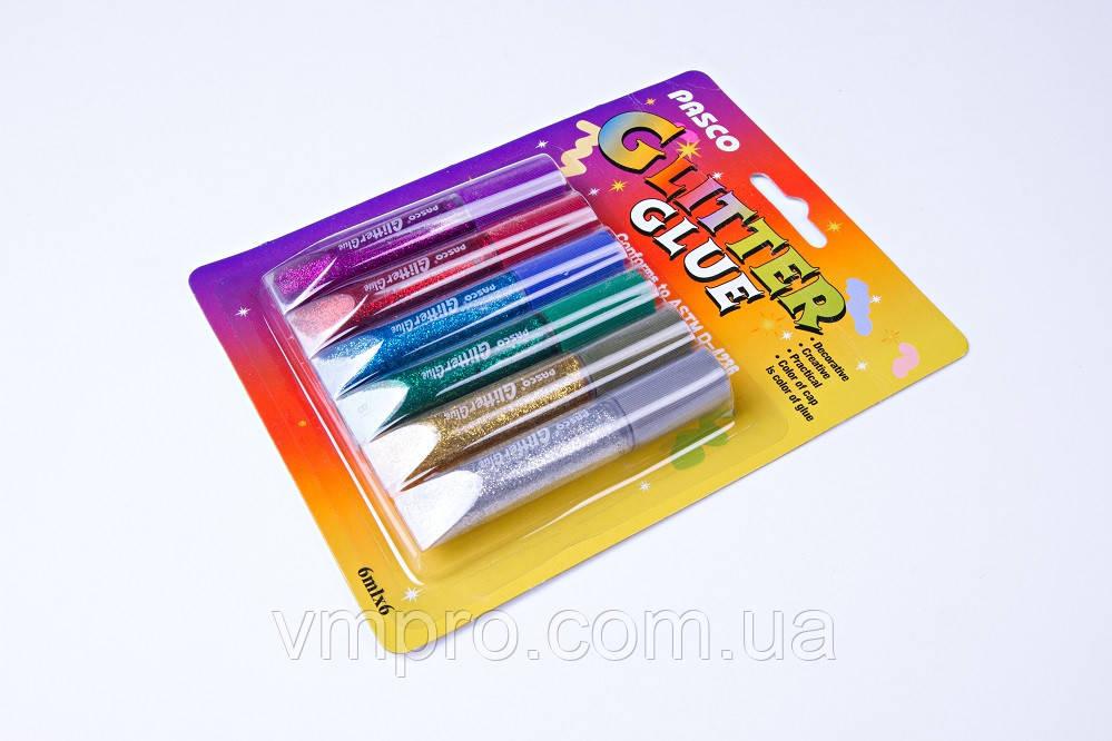 """Клей """"PASCO"""" силиконовый c блестками на картоне (6 цв×6 мл) F-001-4"""