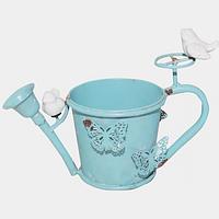 Декоративное кашпо-лейка Птички 20,5 см, голубой антик ST 777-032