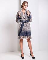 Красивое пальто-халат с бахромой из итальянской шерсти х u-alb02608