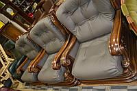 Комплект кожаной мебели,  серый диван 3 кресла, 3+1+1+1