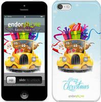 """Чехол на iPhone 5c Весёлое Рождество на жёлтой машине """"215c-23"""""""