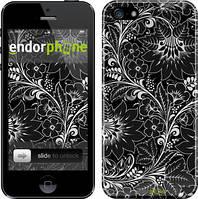 """Чехол на iPhone 5s Чёрно-белая хохлома """"1092c-21"""""""
