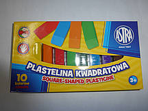 Пластилин 10 цветов ASTRA квадратный