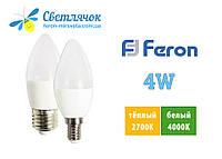 Светодиодная лампа свеча 4W Feron LB-720 Е14/Е27 2700К/4000К C37 ЭКО-СЕРИЯ