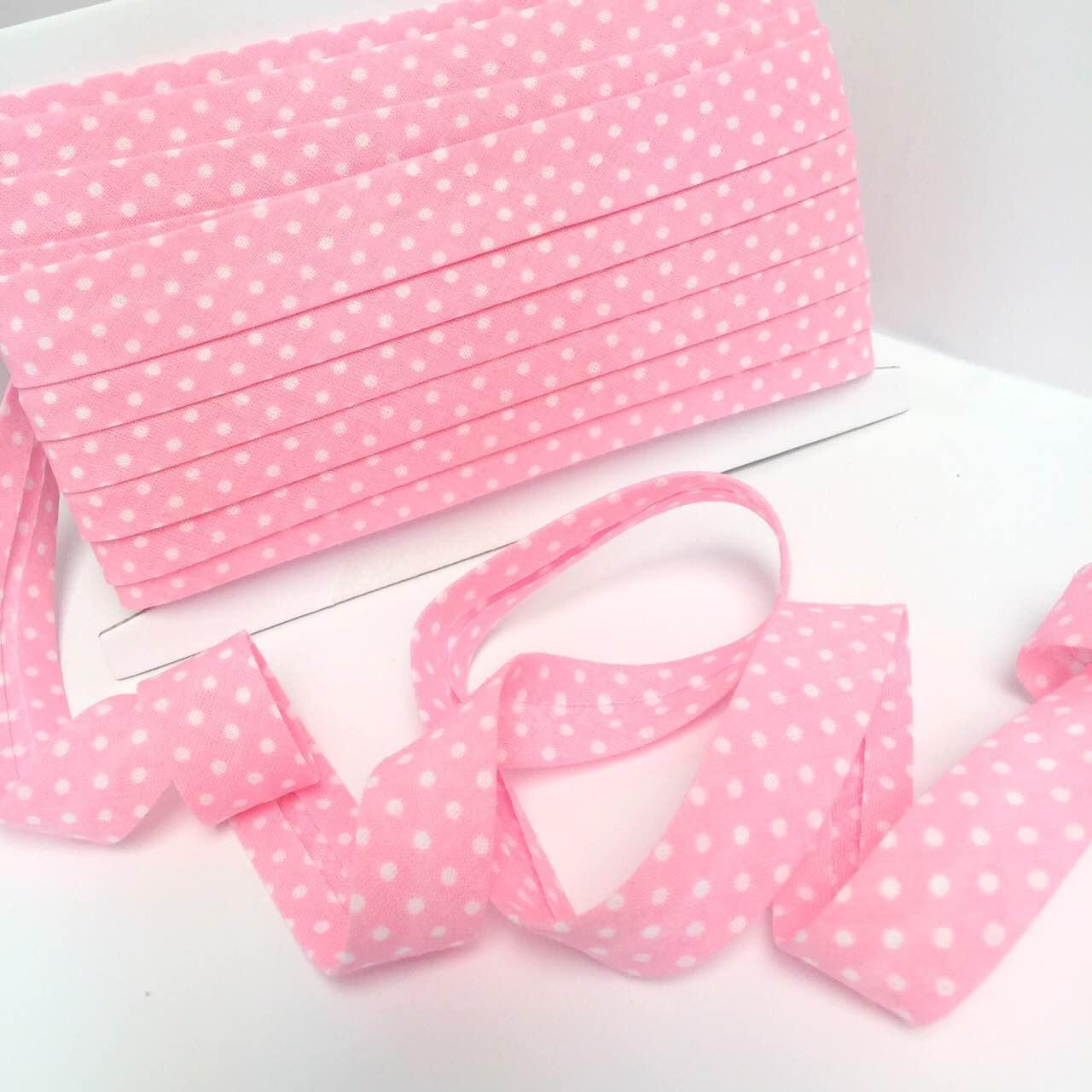 Хлопковая косая бейка с  белым горох 3 мм  на розовом фоне № КБ-221
