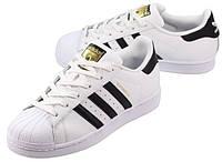 """Кроссовки Adidas Superstar """"Black Stripes"""" женские/подростковые белые, черные полоски Адидас Суперстар, фото 1"""