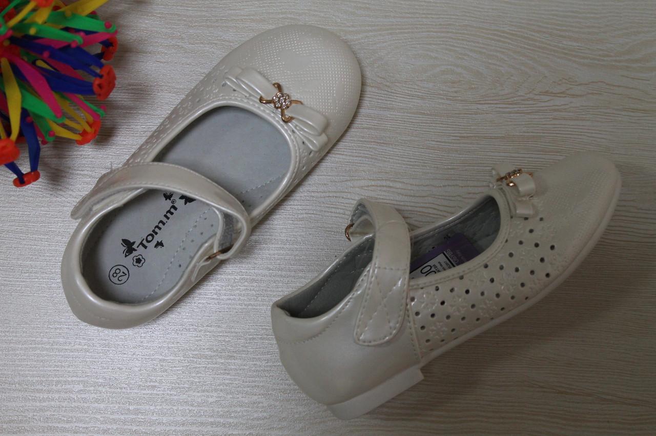 81698d27f Белые нарядные туфли на девочку с бантом рисунок перфориция тм Tom.m р.26