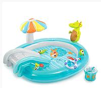 Детский надувной игровой центр «Крокодил с горкой» | «Intex»