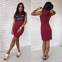 Молодежное платье с капюшоном в расцветках p-1032646