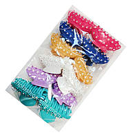 Заколки-крабы для волос цветные с камушками 12 шт. в упаковке, длина 8 см.