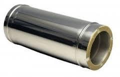 Труба утепленная VersiaLux нерж/оцинк, длина 1м, толщина стенки 0,8мм.   150/220, 0.8