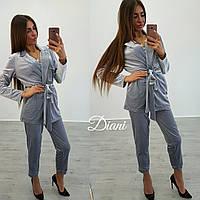 Женский стильный бархатный костюм о-1410538