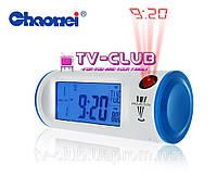 Часы проектор, часы с проекцией времени, подсветкой и ЖК-дисплеем - CHAOWEI