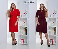 Свободное платье с коротким рукавом батал в расцветках q-6202209