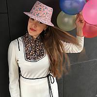 """Шляпа """"Трилби"""" персиковая в цветочек"""
