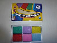 Моделина 6 цветов ASTRA с парчей для запекания